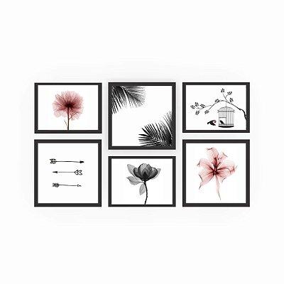 Quadro Decorativo Flores 02 Composição 64x37 6pc