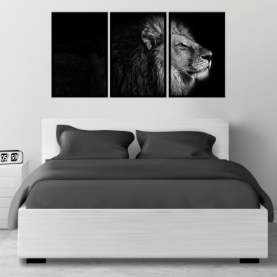 Quadro Decorativo Leão Preto e Branco Perfil 3P 115x57