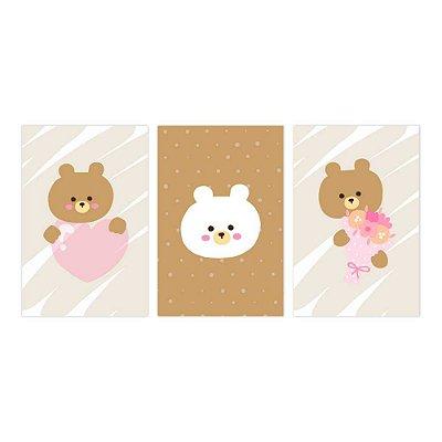 Quadro Decorativo Urso Kids 3P 115x57