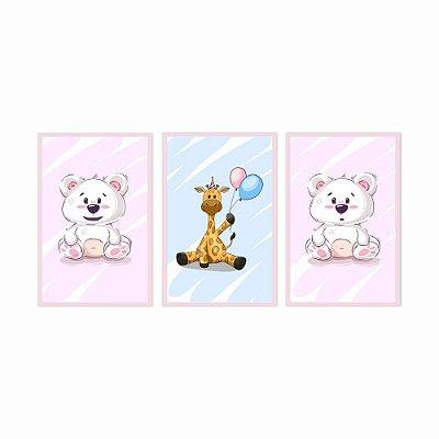 Quadro Decorativo Girafa e Urso Kids 3P 115x57