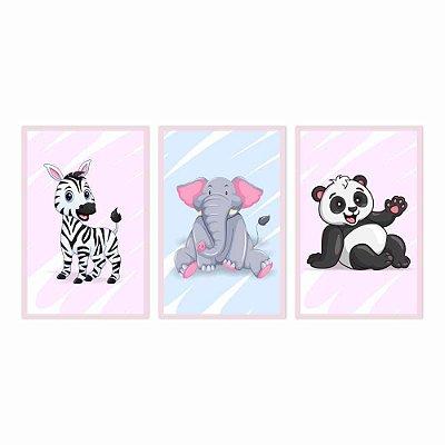 Quadro Decorativo Animais Kids 3P 115x57