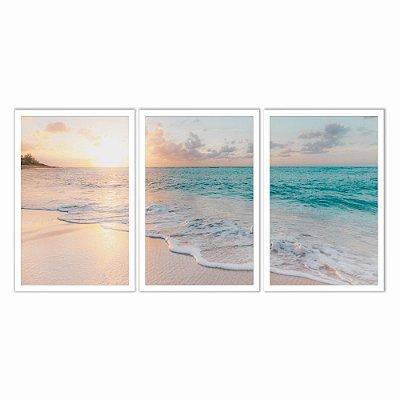 Quadro Decorativo Praia Pôr do Sol 115x57 5pc