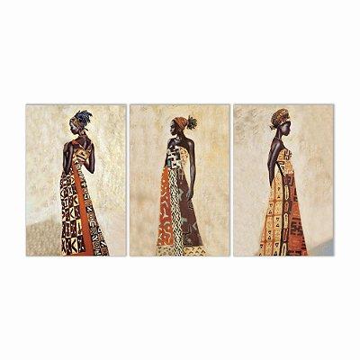 Quadro Decorativo Africanas 2 3P Sem Moldura 115x57