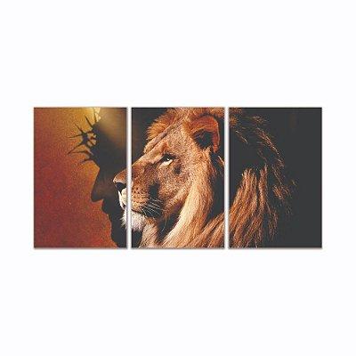 Quadro Decorativo Leão De Juda Pefil 3P S/ Moldura 115x57