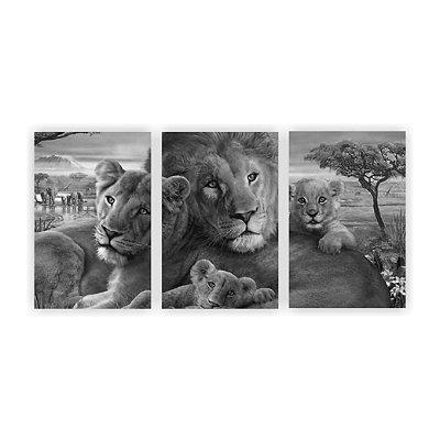 Quadro Decorativo Família Leão Preto e Branco 115x57