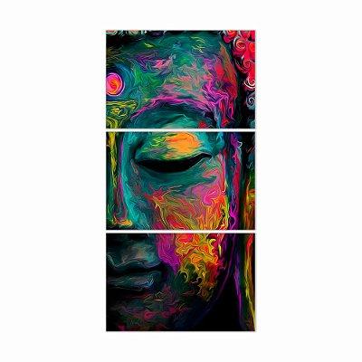 Quadro Decorativo Face de Buda Colorido 3PV 60x124