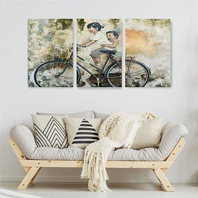 Quadro Decorativo Bicicleta Com Crianças 115x57