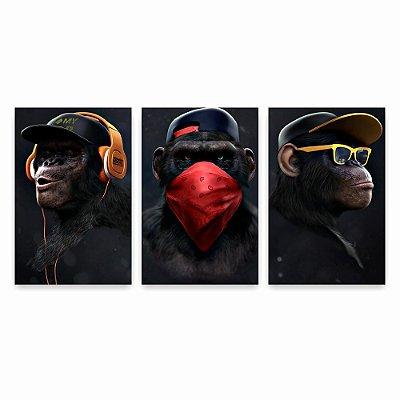 Quadro Decorativo Três Macacos Sábio 3P Sem Moldura 115x57