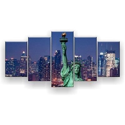 Quadro Decorativo Estátua Da Liberdade NY 129x61 5pc Sala
