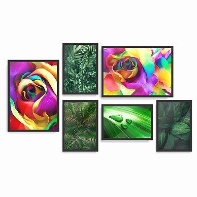 Quadro Decorativo Natureza Folhas 2 Composição 6pc