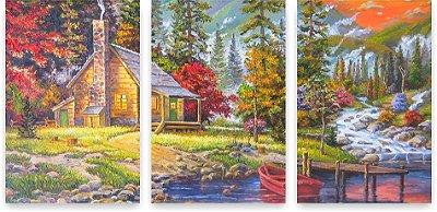 Quadro Decorativo Pôr do Sol Pintura 115x57