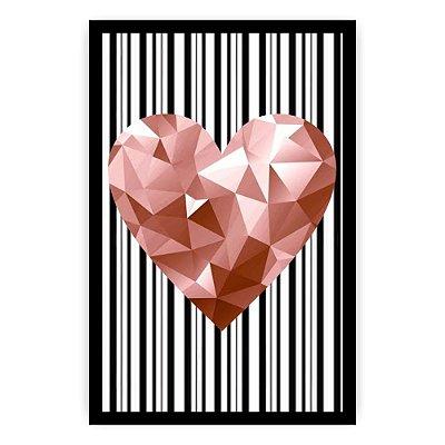 Quadro Decorativo Coração Geométrico Rosa 20x30