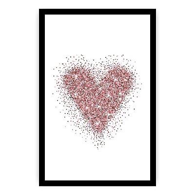 Quadro Decorativo Coração Glitter 20x30