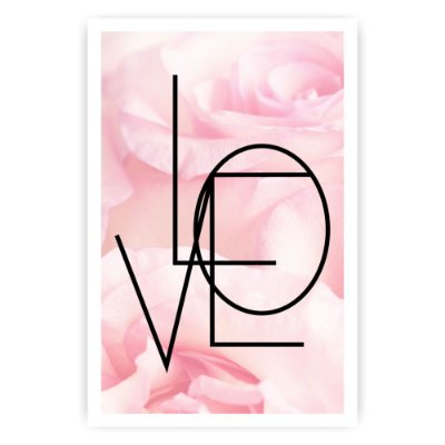 Quadro Decorativo Love Rosas 20x30
