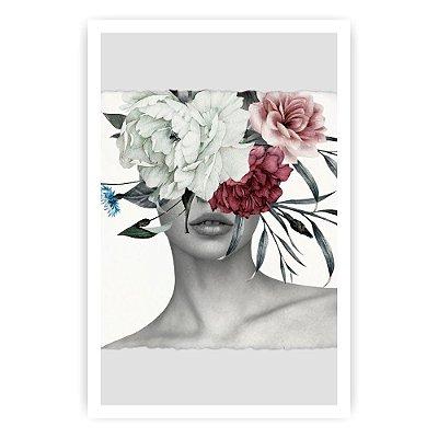 Quadro Decorativo Mulher Flores 20x30