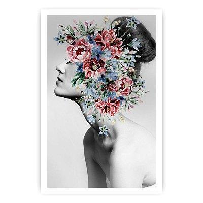 Quadro Decorativo Mulher Flores 2  20x30