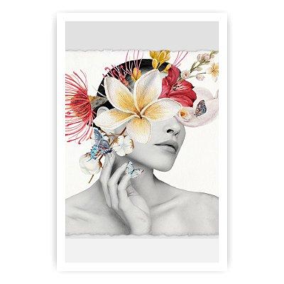 Quadro Decorativo Mulher Flores 3 20x30