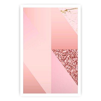 Quadro Decorativo Triângulos Rosa 20x30