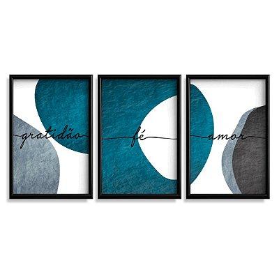 Quadro Decorativo Gratidão Fé e Amor Azul