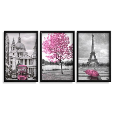 Quadro Decorativo Londres Paris Rosa