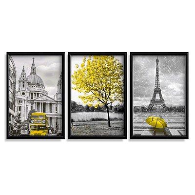 Quadro Decorativo Londres Paris Amarelo