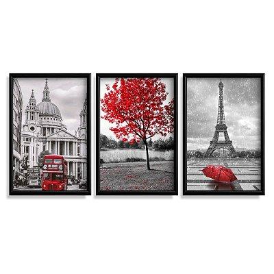 Quadro Decorativo Londres Paris Vermelho