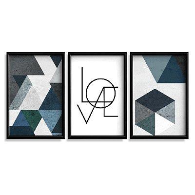 Quadro Decorativo Love Abstrato Azul