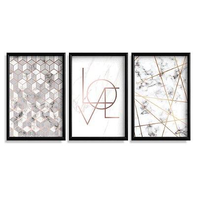 Quadro Decorativo Love Mármore Abstrato