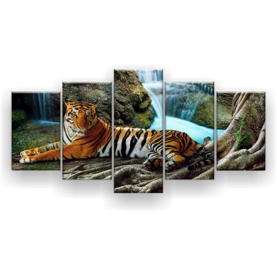 Quadro Decorativo Tigre Cachoeira 129x61 5pc Sala