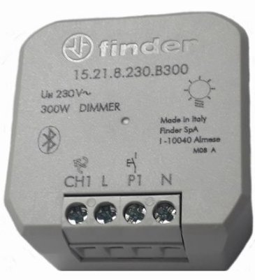 15.21.8.230.B300 RELÉ DIMMER 200W BLUETOOTH BRANCO 230VAC GLOBAL YESLY FINDER