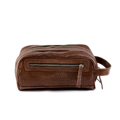 Necessaire Duo Pocket Confort Croco Marron