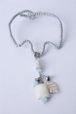 Biojóia Gargantilha de arame com fios, cristais e pedras
