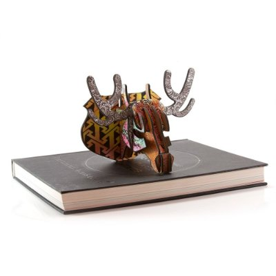 Mini Cabeça de MDF Alce Henna