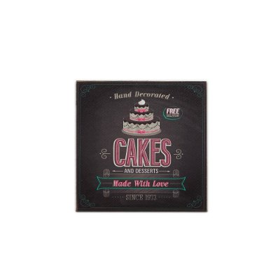 Placa Decorativa de Madeira Cakes and Desserts 20x20