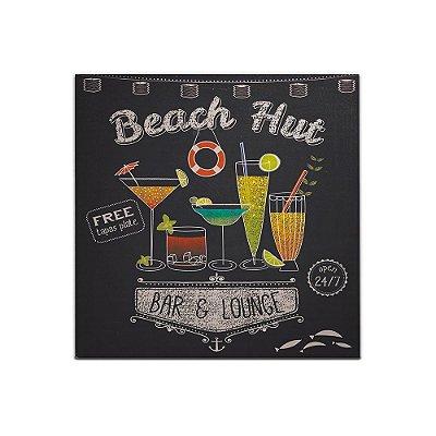Placa Decorativa de Madeira Bar e Lounge 40x40