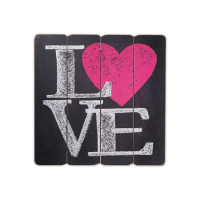 Placa Decorativa de Madeira Love 40x40