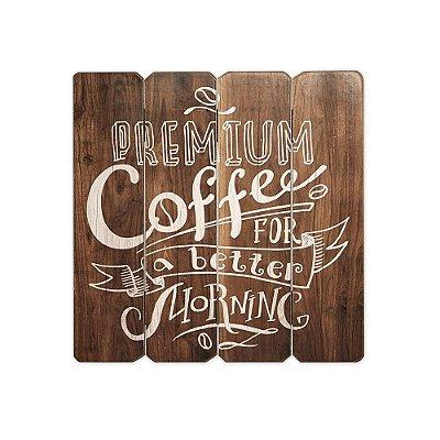 Placa Decorativa de Madeira Premium Coffee 40x40