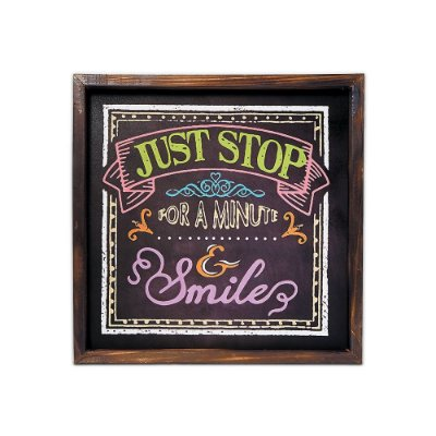 Placa Decorativa de Madeira Just Stop for a Minute & Smile 40x40