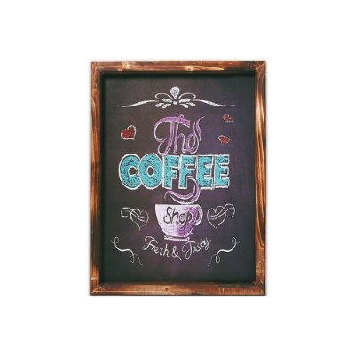 Placa Decorativa de Madeira Lousa the Coffee 30x40