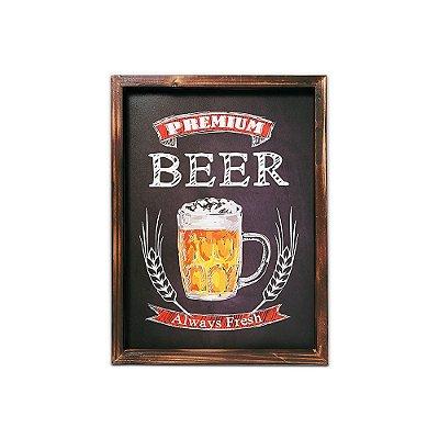 Placa Decorativa de Madeira Lousa Beer 30x40
