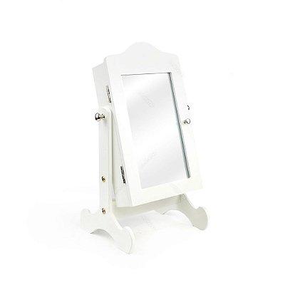 Espelho de Mesa Porta Jóias Branco