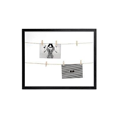 Porta Retrato Preto Varal com Clips 50x40
