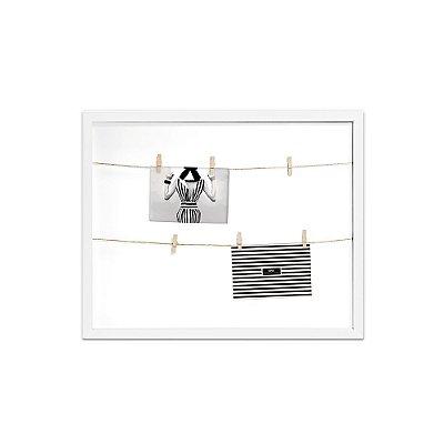 Porta Retrato Branco Varal com Clips 50x40