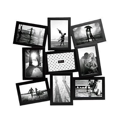 Porta Retrato Preto Contemporâneo - 9 Fotos