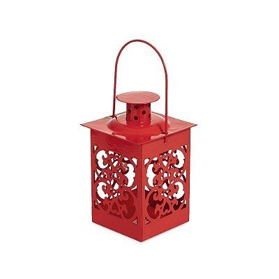Mini Lanterna Marroquina Vermelha Arabescos