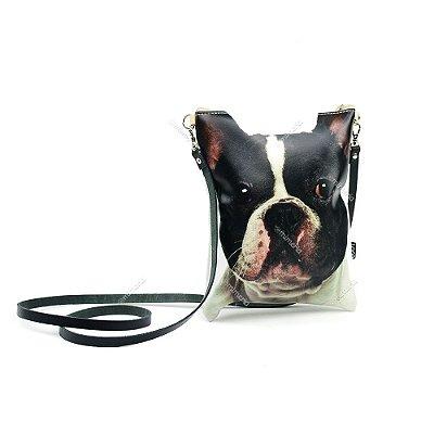 Bolsa Tiracolo Estampada Cachorro Bulldog Francês Preto e Branco