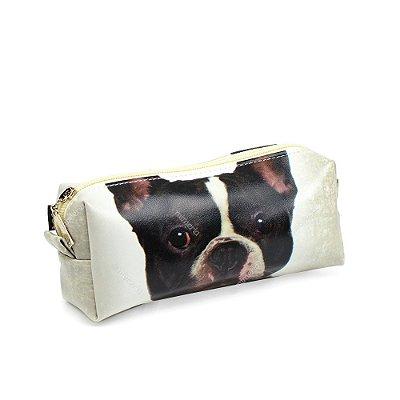 Estojo Estampado Cachorro Bulldog Francês Preto e Branco