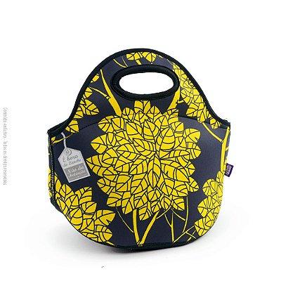 Lancheira Neoprene Folha Chá Azul e Amarela