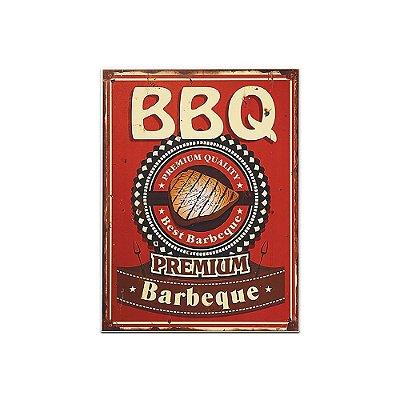 Placa Decorativa de Madeira BBQ Vermelha 30x40