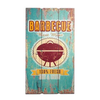 Placa Decorativa de Madeira Barbecue Azul 30x60